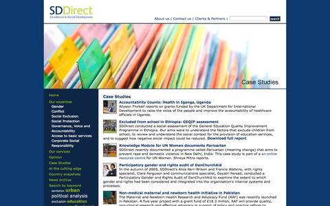 Screenshot of Case Studies Page sddirect.org.uk - Social Development Direct - Case Studies - captured Oct. 26, 2014