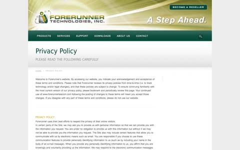Screenshot of Privacy Page frtinc.com - Privacy Policy | Forerunner Technologies, Inc. - captured Oct. 6, 2014