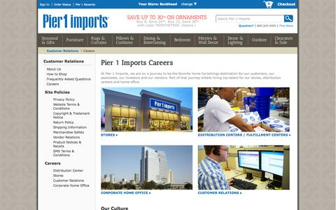 Screenshot of Jobs Page pier1.com - Pier 1 Careers & Jobs : Store, Home Office & Distribution Center | Pier 1 Imports - captured Sept. 18, 2014