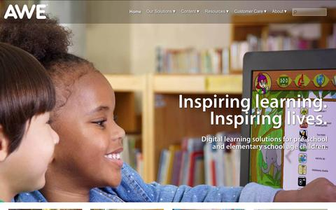 Screenshot of Home Page awelearning.com - AWE - Providing safe, digital learning at your library. : Digital learning solutions for preschool and elementary school age children at your local Public Library from AWE Learning. - captured Sept. 11, 2015