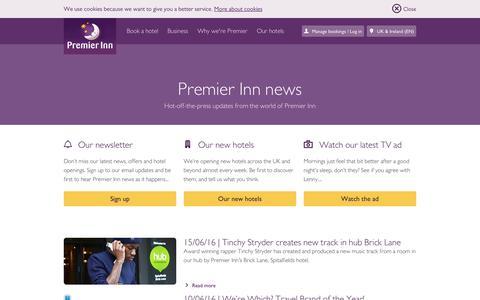 Screenshot of Press Page premierinn.com - Our Latest News | Premier Inn - captured July 15, 2016