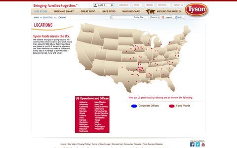Screenshot of Locations Page tysonfoods.com - Tyson Foods: Locations - captured Sept. 24, 2014