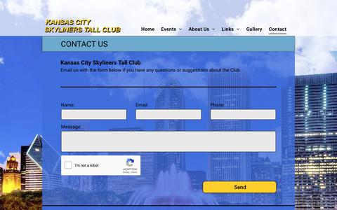 Screenshot of Contact Page kansascitytallclub.org - Tall People - Kansas City Skyliners Tall Club - captured Oct. 28, 2018