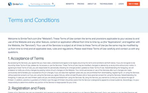 Screenshot of Terms Page similartech.com - Terms and Conditions - captured Sept. 23, 2014