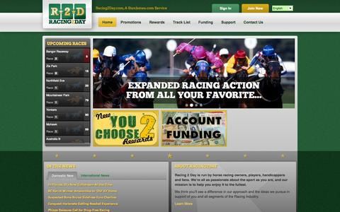 Screenshot of Home Page racing2day.com - Welcome to Racing2Day   Racing2Day - captured Oct. 6, 2014