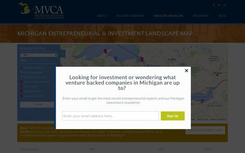 Screenshot of Maps & Directions Page michiganvca.org - Michigan Entrepreneurial & Investment Landscape Map - Michigan Venture Capital Association - captured Feb. 13, 2016