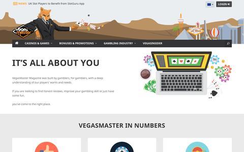 Screenshot of About Page vegasmaster.com - About Us | VegasMaster - Leading Online Gambling Magazine - captured Oct. 6, 2017