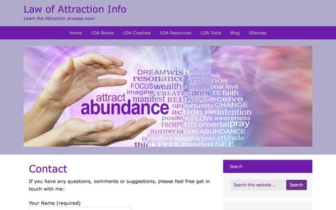 Screenshot of Contact Page law-of-attraction-info.com - Contact - Law of Attraction Info - captured Feb. 7, 2018
