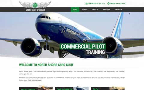 Screenshot of Home Page nsac.co.nz - North Shore Aero Club - captured Oct. 9, 2014