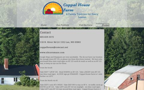 Screenshot of Contact Page nhcornmaze.com - Contact Us | Lee NH | Coppal House Farm - captured Sept. 29, 2018