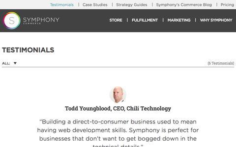 Screenshot of Testimonials Page symphonycommerce.com - Symphony Commerce Client Testimonials - captured Sept. 17, 2014
