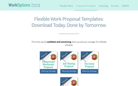 Screenshot of Products Page workoptions.com - Proposal Packages for Flexible Work Arrangements, including Telework - captured June 2, 2018