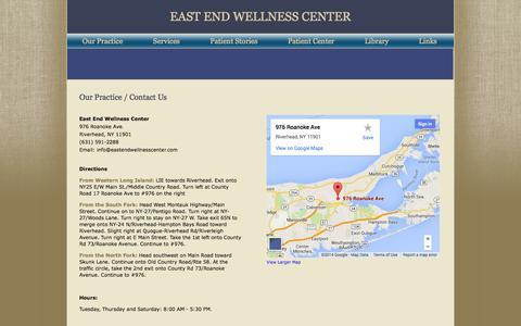 Screenshot of Maps & Directions Page eastendwellnesscenter.com - East End Wellness Center | Contact Us - captured Sept. 27, 2014