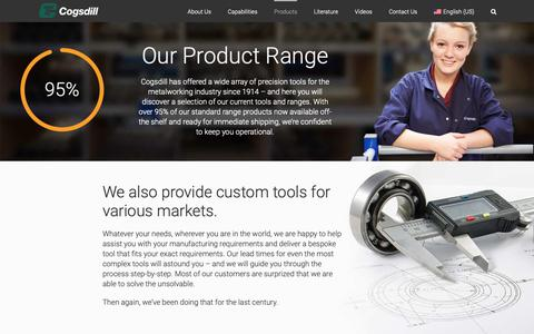Screenshot of Products Page cogsdill.com - Hole Finishing Solutions | Cogsdill Precision Tooling Product Range - captured Sept. 28, 2018