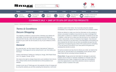 Screenshot of Terms Page thesnugg.com - Terms and Conditions - TheSnugg.com - captured Sept. 8, 2016