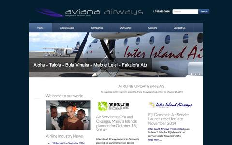 Screenshot of Home Page avianaair.com - Aviana Airways Corporation - Aviana Airways - Main - captured Oct. 5, 2014