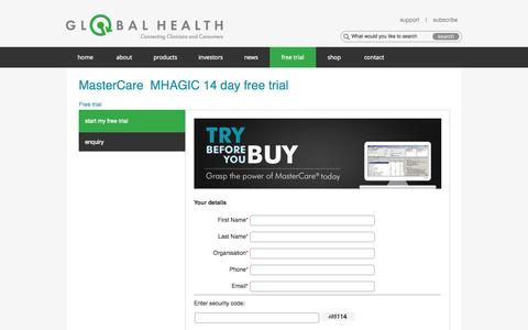 Screenshot of Trial Page global-health.com - Global Health - Free trial | MasterCare | Practice management software - captured Nov. 2, 2014