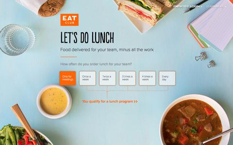 Screenshot of Home Page myeatclub.com - Corporate Catering Services | EAT Club - captured July 3, 2015