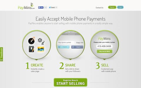 Screenshot of Home Page paymins.com - PayMins © | Accept Mobile Phone Payments - captured July 11, 2014