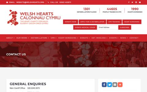Screenshot of Contact Page welshhearts.org - Contact Us - Welsh Hearts - Welsh Hearts - captured Sept. 21, 2018