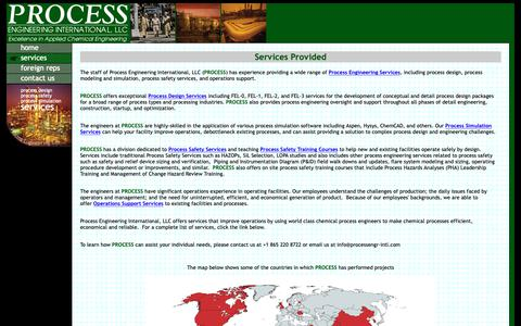 Screenshot of Services Page processengr-intl.com - Engineering Services Provided by Process Engineering International, LLC - captured Sept. 30, 2018