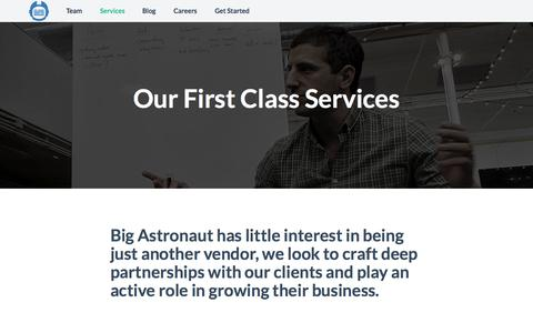 Screenshot of Services Page bigastronaut.com - Big Astronaut - Our Services - [Development, E-Commerce, Online Marketing, Product Architecture, UI/UX Expertise, Website Deployment] - captured Sept. 30, 2014
