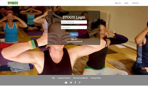 Screenshot of Login Page 9yogis.com - Login | 9YOGIS - captured Oct. 7, 2014