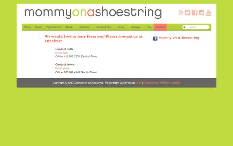 Screenshot of Contact Page mommyonashoestring.com - Contact - Mommy on a Shoestring - captured Oct. 20, 2017