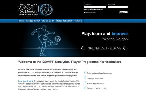 Screenshot of Home Page s20app.com captured Sept. 19, 2015