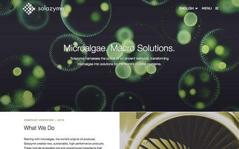 Screenshot of Home Page solazyme.com - Solazyme   At Solazyme we transform microalgae, the smallest of organisms, into solutions for the worlds biggest problems. - captured Oct. 1, 2015