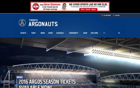 Screenshot of Home Page argonauts.ca - Toronto Argonauts - Argos - captured Jan. 16, 2016