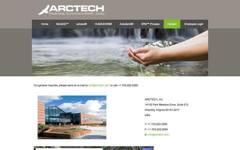 Screenshot of Contact Page arctech.com - Contact ARCTECH - captured Sept. 30, 2014