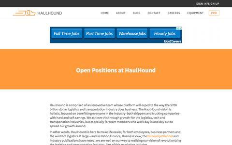 Screenshot of Jobs Page haulhound.com - Work at a Chicago Logistics Startup | HaulHound - captured July 8, 2018
