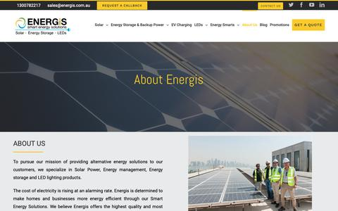 Screenshot of About Page energis.com.au - About Energis - Solar Panels and Solar Energy Systems | Energis Melbourne - captured Nov. 13, 2018