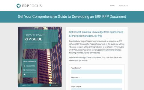Screenshot of Landing Page erpfocus.com - ERP Software RFP Guide - Free Download on ERP Focus - captured March 5, 2018