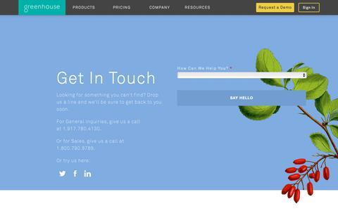 Screenshot of Contact Page greenhouse.io - Contact Greenhouse | Greenhouse - captured March 1, 2018