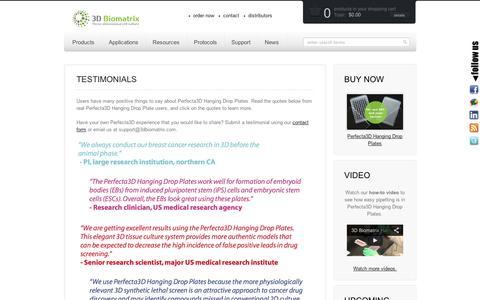 Screenshot of Testimonials Page 3dbiomatrix.com - Testimonials - 3D Biomatrix - captured Sept. 10, 2014