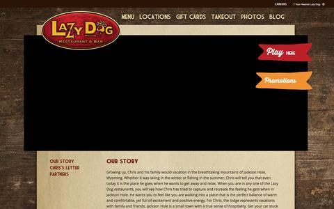 Screenshot of About Page lazydogrestaurants.com - Lazy Dog Restaurant & Bar | Our Story - captured Jan. 27, 2016