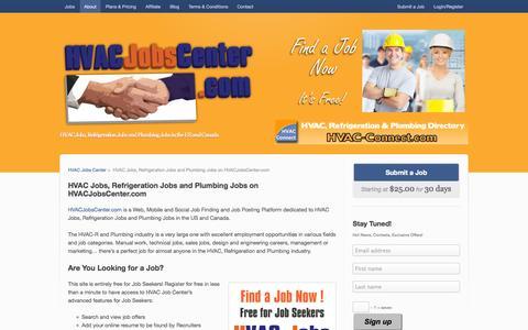 Screenshot of About Page hvacjobscenter.com - HVAC Jobs, Refrigeration Jobs and Plumbing Jobs - captured Sept. 26, 2014