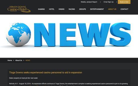 Screenshot of Press Page vernondowns.com - News Feed   Vernon Downs - captured Nov. 29, 2016