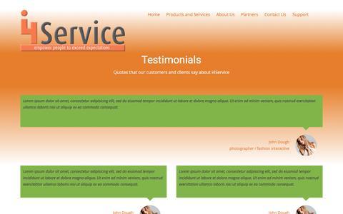 Screenshot of Testimonials Page i4service.net - i4Service Testimonials - i4Service - captured Jan. 9, 2016