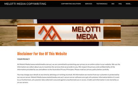 Screenshot of Privacy Page melottimedia.com.au - Contact Melotti Media - Melotti Media Copywriting - captured June 10, 2017