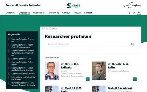Screenshot of Team Page eur.nl - Researcher profielen | Erasmus University Rotterdam - captured Sept. 22, 2018