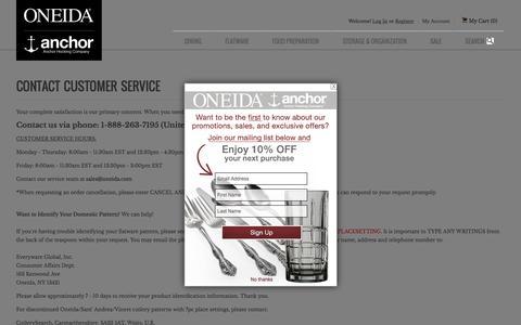 Screenshot of Contact Page oneida.com - Contact Us - captured Oct. 15, 2015
