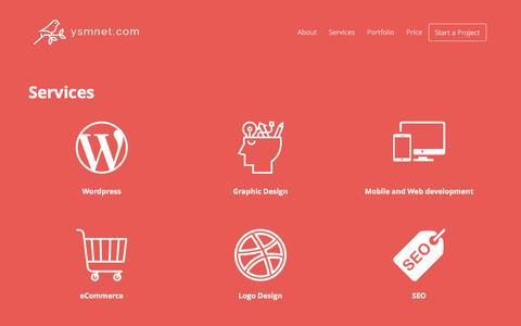 Screenshot of Services Page ysmnet.com - Professional Web designing Company   Cheap Best Website wordpress   Ysmnet Design in Coimbatore - captured Sept. 14, 2016