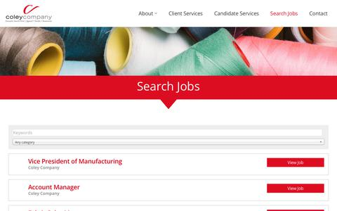 Screenshot of Jobs Page coleycompany.net - Jobs - Coley Company - Apparel, Nonwoven and Textile Jobs - captured July 20, 2018