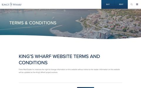 Screenshot of About Page Terms Page kingswharf.ca - Terms and Conditions | King's Wharf | Apartments & Condos | Halifax, NS - captured Nov. 26, 2018