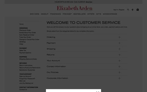 Screenshot of Support Page elizabetharden.com - Customer Service | Elizabeth Arden - captured July 17, 2018