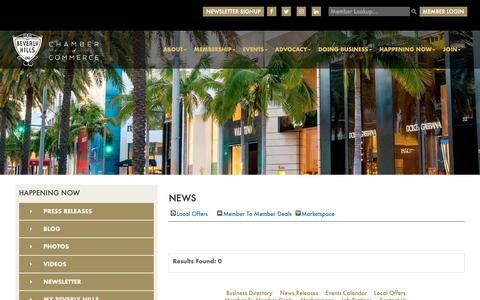 Screenshot of Press Page beverlyhillschamber.com - News - Happening Now Page  - Beverly Hills - captured Oct. 5, 2018