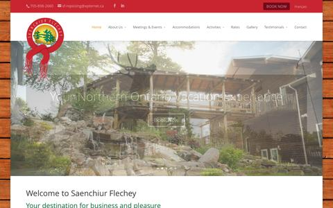 Screenshot of Contact Page sf-nipissing.com - Fishing & Ecotourism Lodge Ontario | Northern Ontario Vacations | Saenchiur Flechey Fishing & Ecotourism Lodge - captured Oct. 3, 2014